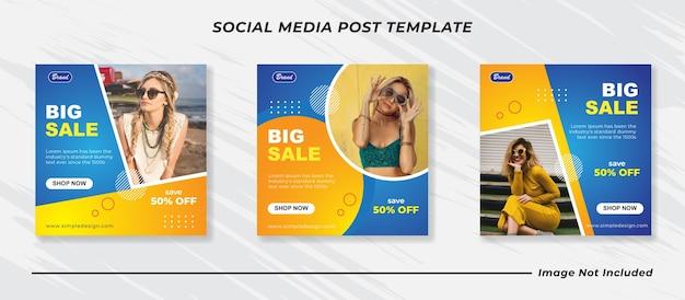 Bleu avec des modèles de publication de médias sociaux de mode minimaliste jaune