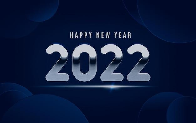 Bleu moderne 2022 avec lettrage argenté