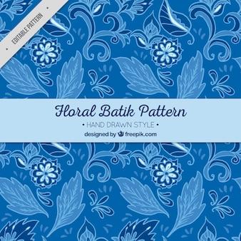 Bleu motif avec des fleurs et des feuilles