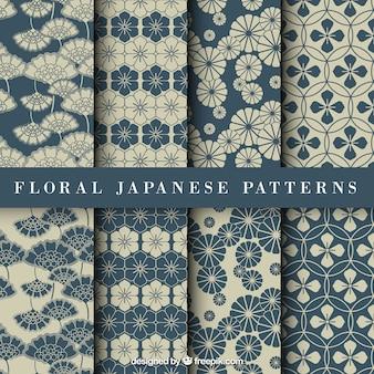 Bleu motif floral japonais