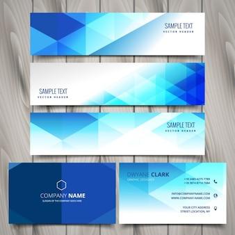 Bleu papeterie d'affaires polygonale