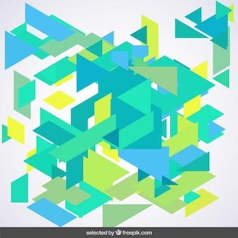 Bleu et polygones de troubles fond vert