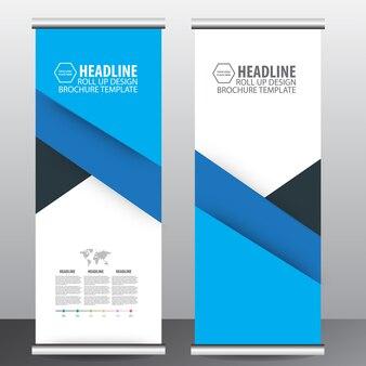Bleu retrousser bannière de flyer brochure entreprise