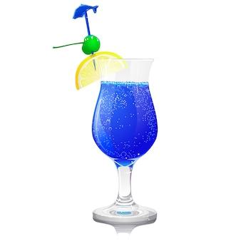 Bleu transparent avec une cerise cocktail verte