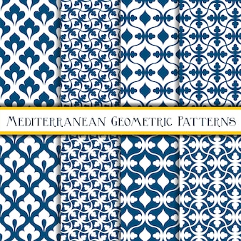 Bleu transparente motif méditerranéen géométrique sans soudure