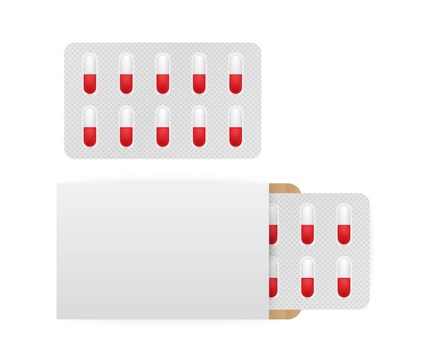 Blister 3d blanc de comprimé isolé sur fond blanc.