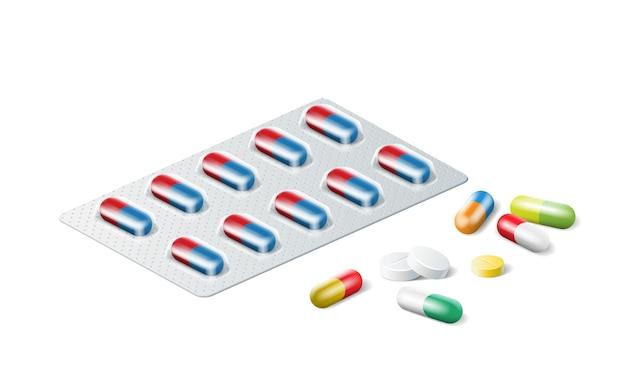 Blister réaliste avec des pilules colorées