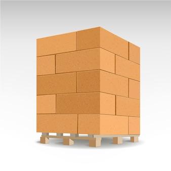 Bloc de briques sur des palettes