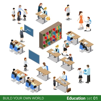 Bloc de construction scolaire plat isométrique. ensemble de classe de bibliothèque de bureau de personnes d'élève d'enfants étudiant enseignant.