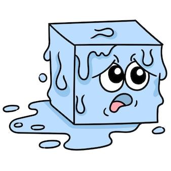 Un bloc de glace fondant avec un visage de dessin animé était effrayé et chaud, image d'icône de griffonnage. dessin animé mignon doodle dessiner