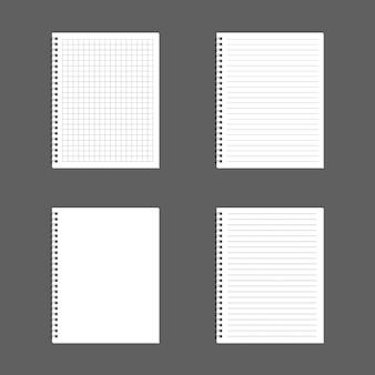 Bloc-notes bloc-notes en spirale réaliste blanc isolé sur vecteur blanc
