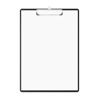 Bloc-notes avec copie-espace. presse-papiers avec papiers vierges et espace copie isolé sur fond blanc. bloc-notes