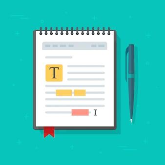Bloc-notes électronique ou carnet de notes avec l'icône de modification de contenu de fichier texte illustration de dessin animé plat