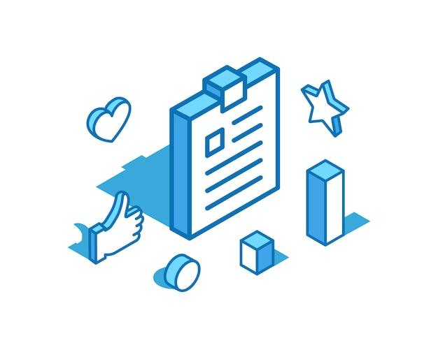 Bloc-notes ligne bleue illustration isométrique tablette cahier d'exercices modèle de bannière 3d