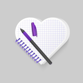 Bloc-notes à spirale vierge avec forme de coeur