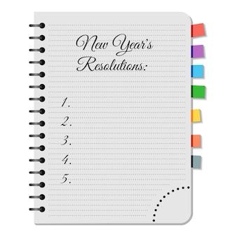 Bloc-notes avec titre résolutions du nouvel an sur fond blanc. illustration vectorielle.
