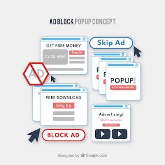 Bloc de publicité pop up concept avec plat deisgn