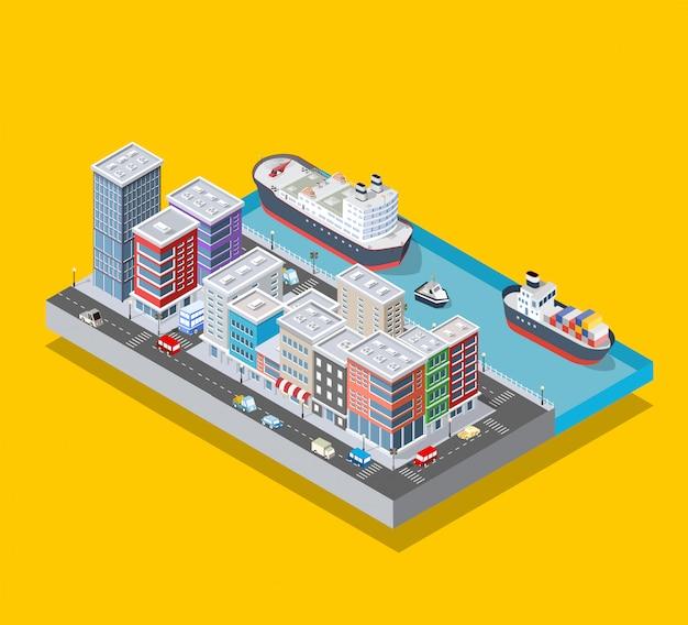 Bloc de ville isométrique