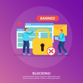 Blocage des personnes de la composition ronde plate de chat en ligne avec cadenas jaune croix rouge signe interdit