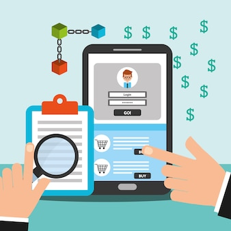 Blockchain d'argent de smartphone et de presse-papiers