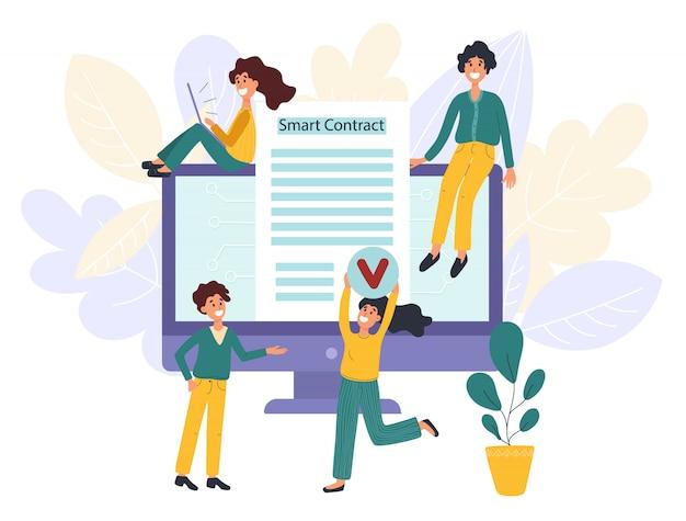Blockchain concept de contrat intelligent avec des personnages. personnes de l'innovation numérique