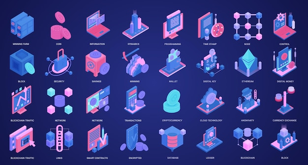 Blockchain crypto monnaie concept isométrique icônes définies d portefeuille numérique de base de données de ferme minière