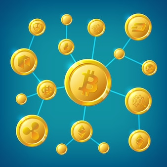 Blockchain, cryptocurrency et bitcoin concept de vecteur de transaction internet anonyme