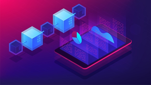 Blockchain isométrique et concept d'analyse ico.