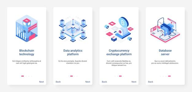 Blockchain isométrique, crypto-monnaie 3d ux, ensemble d'écran de page d'application mobile d'intégration de l'interface utilisateur
