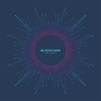 Blockchain logo signe icône concept fractal crypto-monnaie données bannière design graphique abstrait geometr...