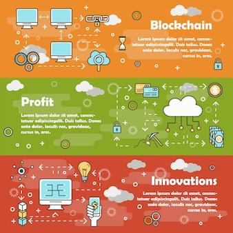 Blockchain moderne ligne plate bannière plate set