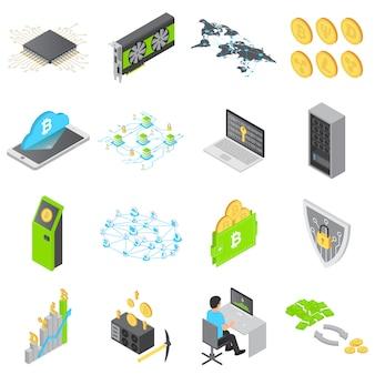 Blockchain technology icons set