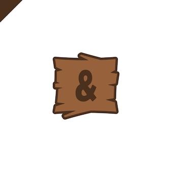 Blocs d'alphabet en bois avec symbole esperluette en texture bois
