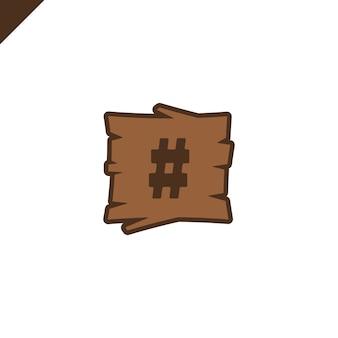 Blocs d'alphabet en bois avec symbole hachage en texture bois