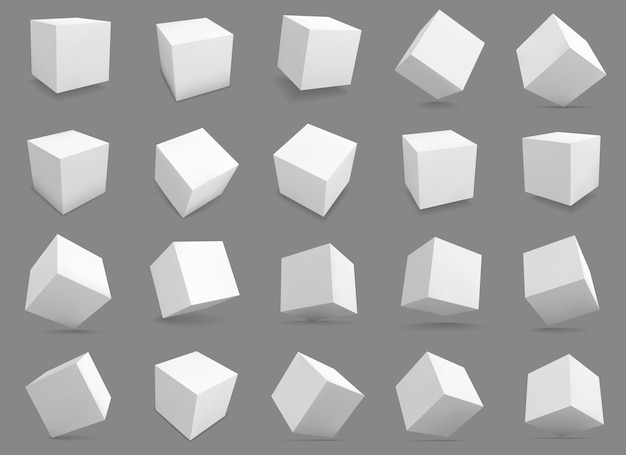 Blocs blancs avec différents éclairages et ombres, cases en perspective.