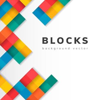 Blocs colorés sur le vecteur de fond blanc blanc