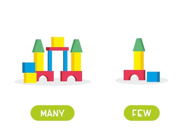 Blocs de construction pour enfants. illustration des opposés nombreux et rares. carte d'aide à l'enseignement, pour l'apprentissage d'une langue étrangère. illustration sur fond blanc, style cartoon.