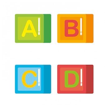 Blocs avec des jouets en alphabet