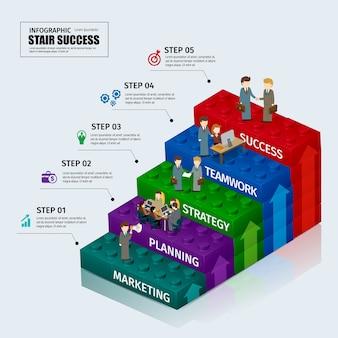 Blocs de jouets graphique affaires étape escalier infographique