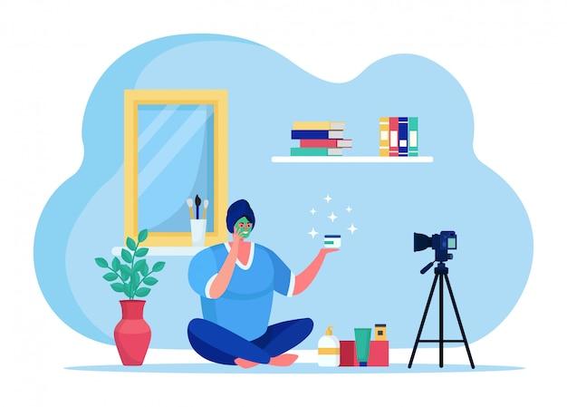 Blog de beauté streaming en ligne, animateur de diffusion internet de mode personnage féminin isolé sur blanc, illustration plate.