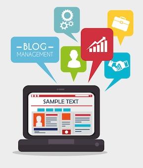 Blog design, illustration vectorielle.