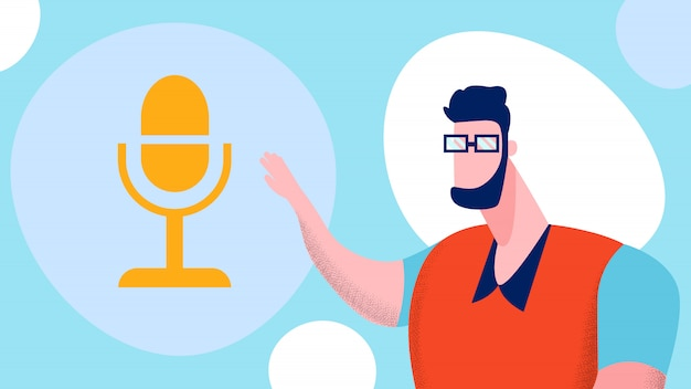 Blog en ligne, illustration de podcasting