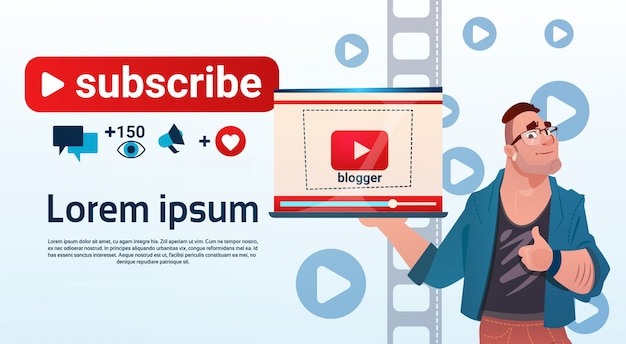 Blog de man video blogger en ligne blogging subscribe concept