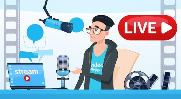 Blog de man video blogger en ligne blogging subscribe concept