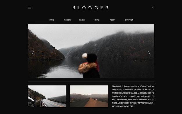 Blog de voyage première page modèle de conception vecteur