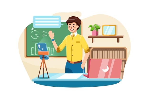 Blogger coach en direct streaming en ligne par smartphone.
