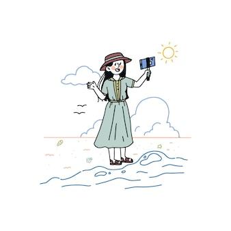 Blogger dessiné à la main illustré
