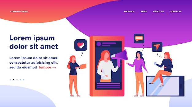 Blogger faisant la promotion d'un produit ou d'un service dans l'illustration des médias sociaux.