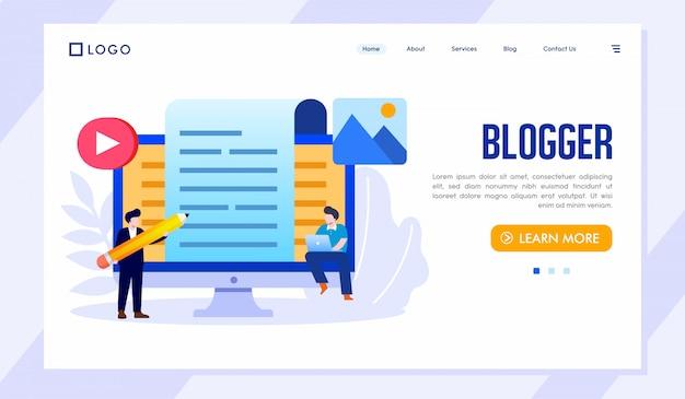 Blogger landing page site web illustration vecteur