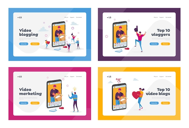 Blogger de mode déballage boîte en carton enregistrement vidéo ensemble de modèles de page de destination.